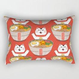 Liter of Ramen. Japanese soup and Manekineko cat. Rectangular Pillow