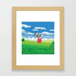calvin and snoopy play Framed Art Print