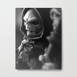 Skeletor Reigns in Black and White Metal Print