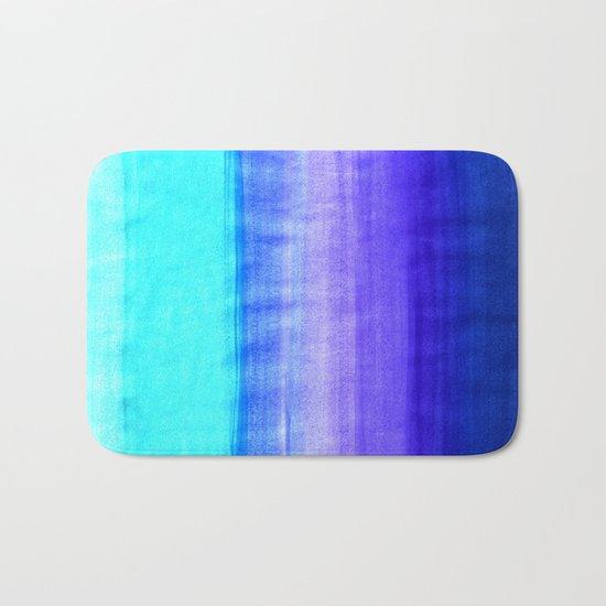 Ocean Horizon - cobalt blue, purple & mint watercolor abstract Bath Mat