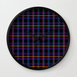 Black, blue and red checker pattern Wall Clock