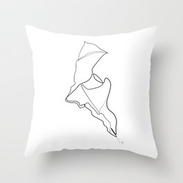 """"""" Botanical Collection """" - Dried Leaf One Line Art Throw Pillow"""