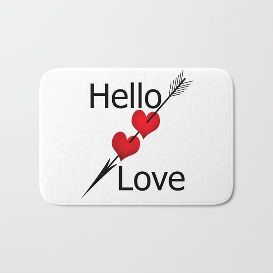 Hello love! White background . Bath Mat