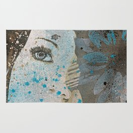Lack Of Interest: (graffiti dark lady with daisies) Rug