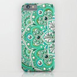 Green and silver flower mandala, boho dot artwork iPhone Case