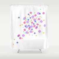 confetti Shower Curtains featuring Confetti by DuniStudioDesign