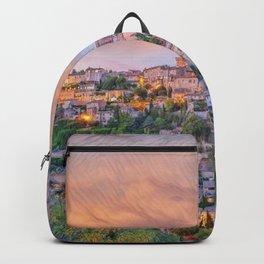 French Hilltop Village Gordes, Vaucluse, France at sunset landscape painting Backpack