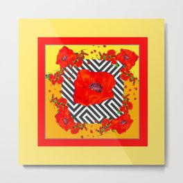 MODERN ART YELLOW-RED POPPIES GARDEN Metal Print