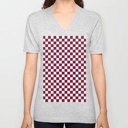 White and Burgundy Red Checkerboard Unisex V-Neck