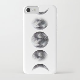 Moon phases watercolor painting iPhone Case