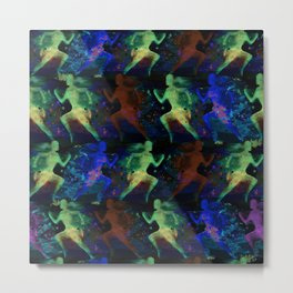 Watercolor women runner pattern on dark background Metal Print