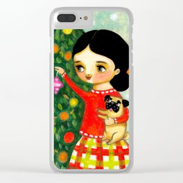 Pug Christmas Tree sweet painting by Tascha Clear iPhone Case