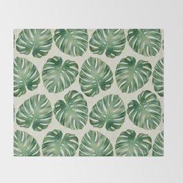 Tropical monstera leaves Throw Blanket
