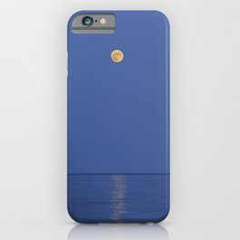 Moonrise at the sea. Blue hour time. Horizontal iPhone Case