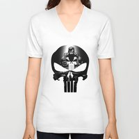 punisher V-neck T-shirts featuring The Punisher by dTydlacka