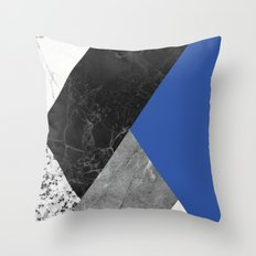 Black and white marbles and pantone lapis blue color Throw Pillow
