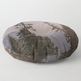Mount Rainier Forest Sunset Floor Pillow