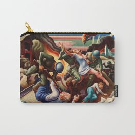 Classical Masterpiece 'WWII Depiction - Blood and Fire' by Thomas Hart Benton Carry-All Pouch