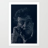 kurt vonnegut Art Prints featuring Kurt Vonnegut Typographic Print by Bookish Prints