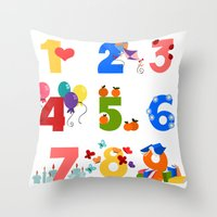 numbers Throw Pillows featuring numbers by Alapapaju