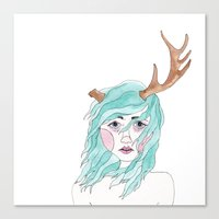 antler Canvas Prints featuring Antler by okayleigh