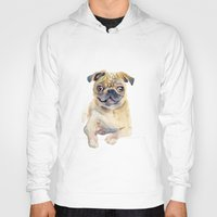 pug Hoodies featuring Pug by coconuttowers