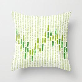 Green Triangle Arrow Trees Throw Pillow