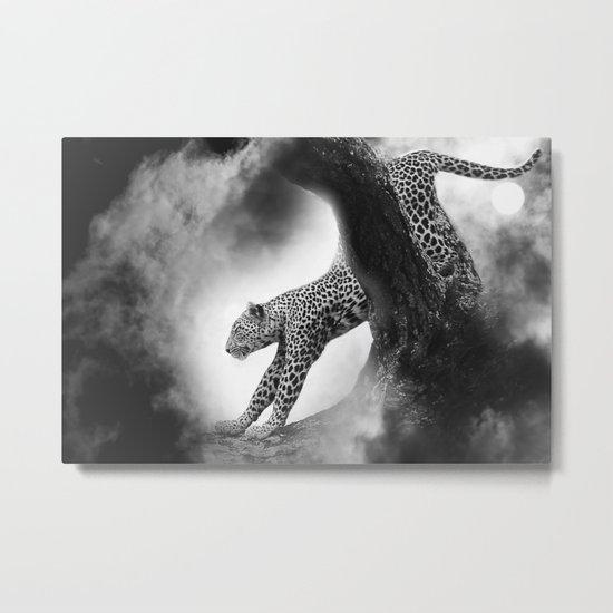 Leopard Night Hunt Metal Print