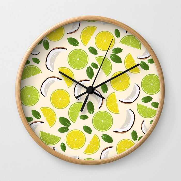 Lime Lemon Coconut Mint pattern Wall Clock