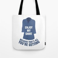 regina mills Tote Bags featuring Regina Sassy Mills | Enjoy my shirt by CLM Design
