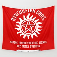 dean winchester Wall Tapestries featuring SUPERNATURAL WINCHESTER BROTHERS DEAN AND SAM by thischarmingfan