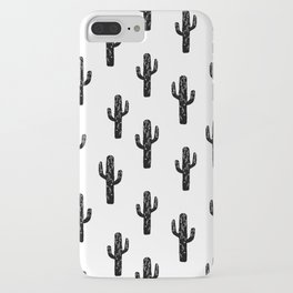 Cactus linocut pattern black and white minimal desert southwest socal joshua tree iPhone Case