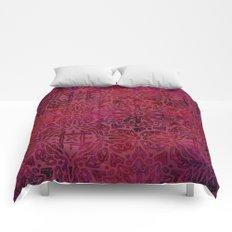 Retro Red textured oriental pattern Comforters