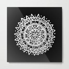 Triangular Black and Metallic White Mandala Metal Print