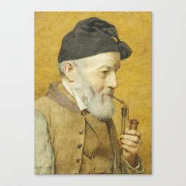 ANKER, ALBERT (1831 Ins 1910) Old farmer with whistle. 1910t Canvas Print