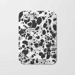 Black White Gray Monochrome Bubble Dots Spilled Ink Mess Effect Bath Mat