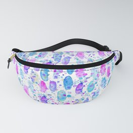 Painterly abstract watercolor blue and pink Fanny Pack