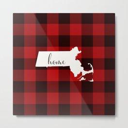 Massachusetts is Home - Buffalo Check Plaid Metal Print