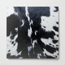 Black and White Cowhide Spots Metal Print
