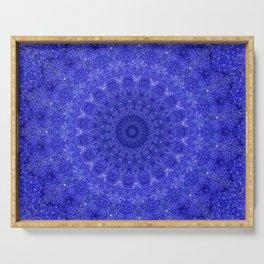 Cosmos Mandala II Cobalt Blue Serving Tray