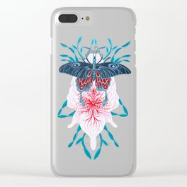 Butterfly White Orchid Tattoo on wood Clear iPhone Case