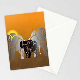 African elephants in sunrise Stationery Cards
