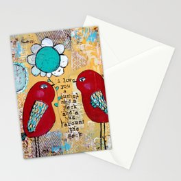 I love you a bushel and a peck, whimsical birds with flower Stationery Cards