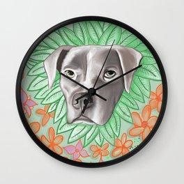 Floral Pitbull Love Wall Clock