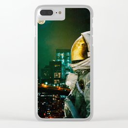 Between The Moon And The City Clear iPhone Case