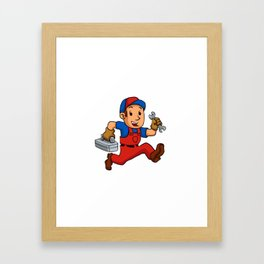 handyman Running With A Toolbox Framed Art Print