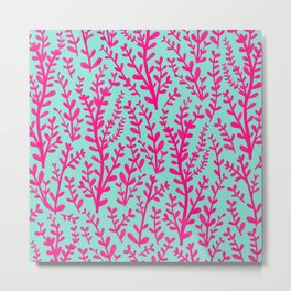 Blue and Purple Pink Floral Gouache Pattern Metal Print