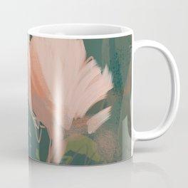 Pink Pastel Flowers On Green Canvas. Coffee Mug
