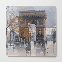 Arc de Triomphe, Paris, France by Eugene Galien Laloue Metal Print