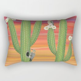 gila woodpeckers on saguaro cactus Rectangular Pillow